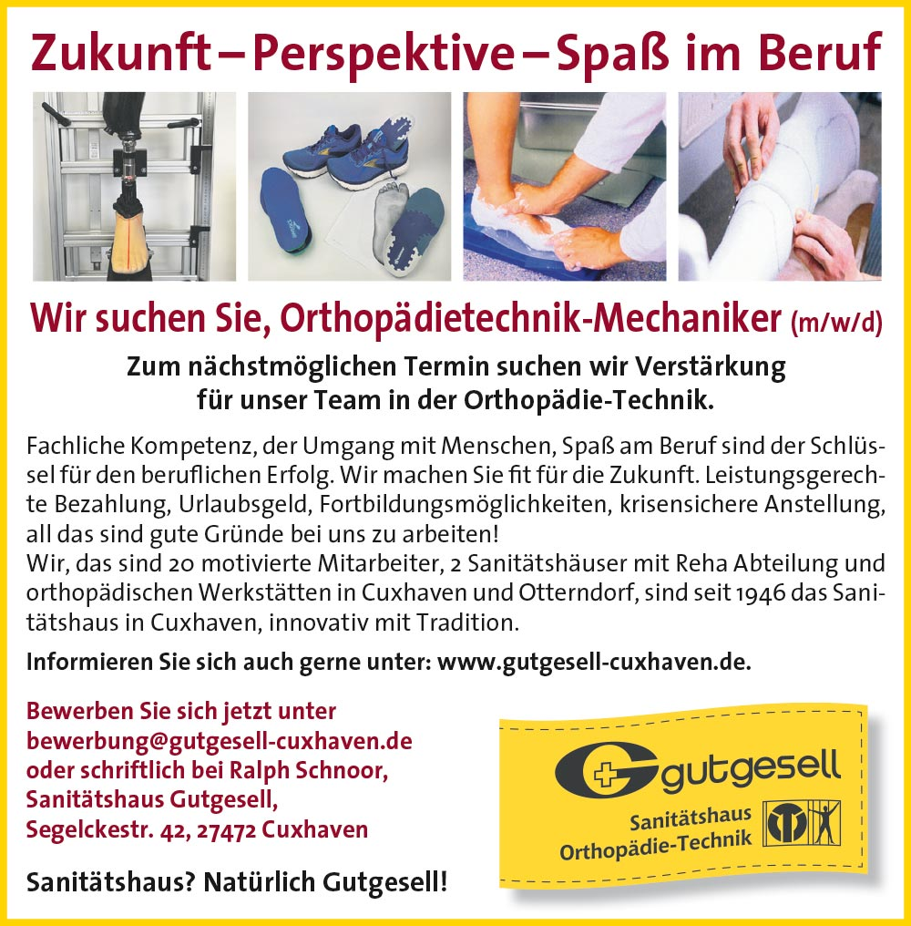Stelleanangebot Orthopädietechnik-Mechaniker m w d
